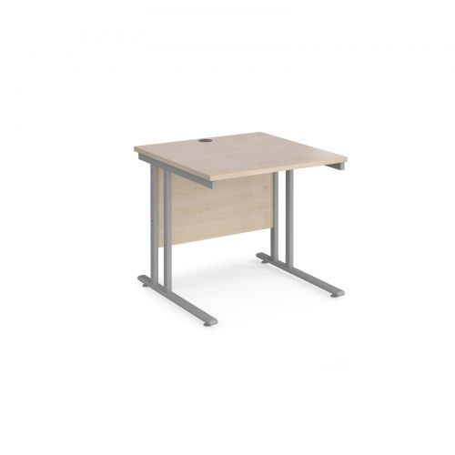 Maestro 25 straight desk 800mm x 800mm - silver cantilever leg frame and maple top