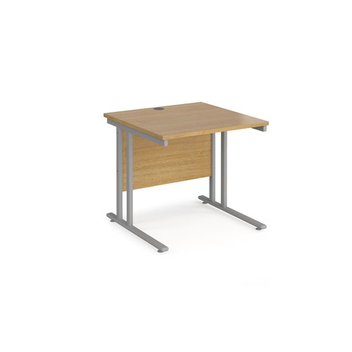 Maestro 25 straight desk 800mm x 800mm - silver cantilever leg frame and oak top