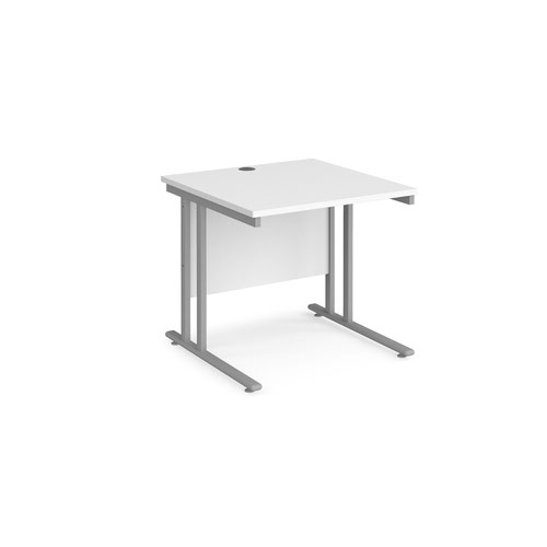 Maestro 25 straight desk 800mm x 800mm - silver cantilever leg frame and white top