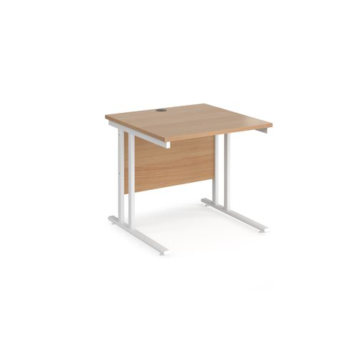 Maestro 25 straight desk 800mm x 800mm - white cantilever leg frame and beech top