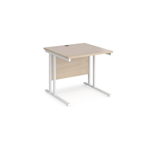 Maestro 25 straight desk 800mm x 800mm - white cantilever leg frame and maple top