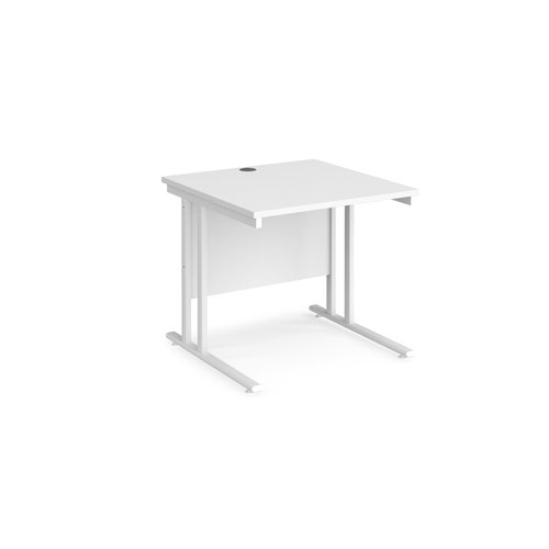Maestro 25 straight desk 800mm x 800mm - white cantilever leg frame and white top