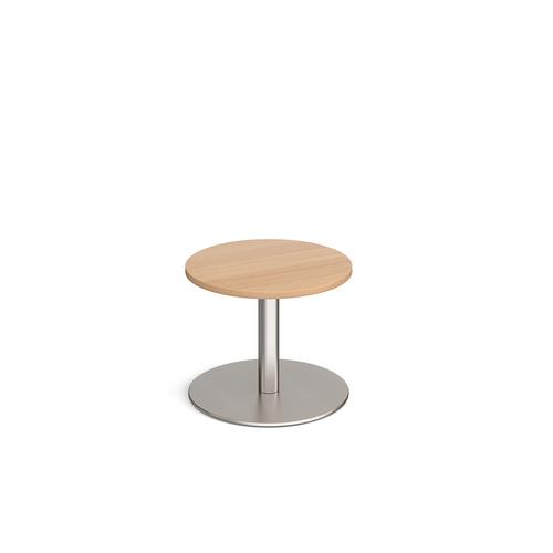 Monza circular coffee table with flat round brushed steel base 600mm - beech