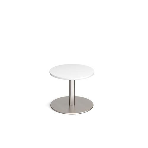 Monza circular coffee table with flat round brushed steel base 600mm - white