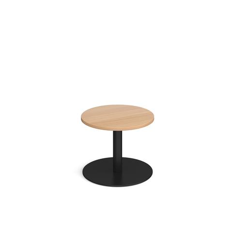 Monza circular coffee table with flat round black base 600mm - beech