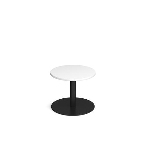 Monza circular coffee table with flat round black base 600mm - white