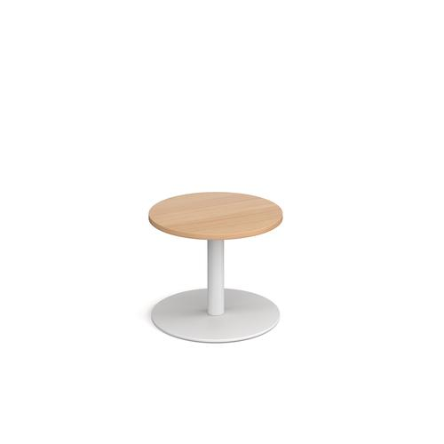 Monza circular coffee table with flat round white base 600mm - beech