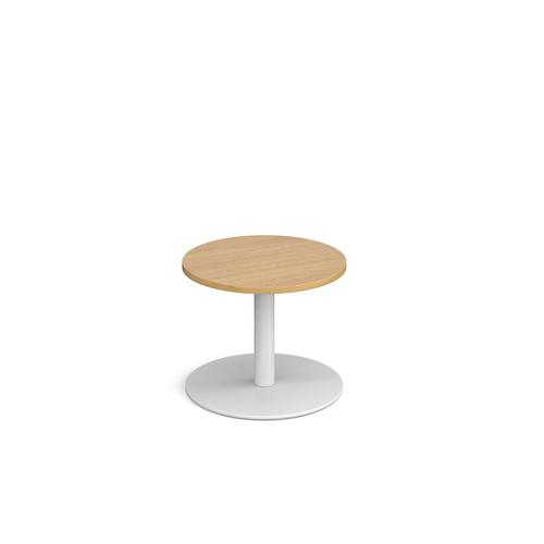 Monza circular coffee table with flat round white base 600mm - oak