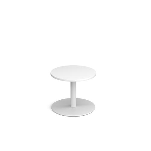 Monza circular coffee table with flat round white base 600mm - white