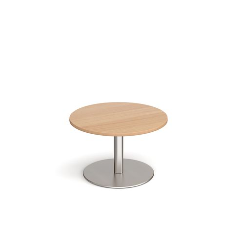 Monza circular coffee table with flat round brushed steel base 800mm - beech