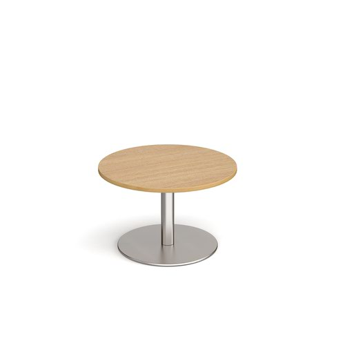 Monza circular coffee table with flat round brushed steel base 800mm - oak