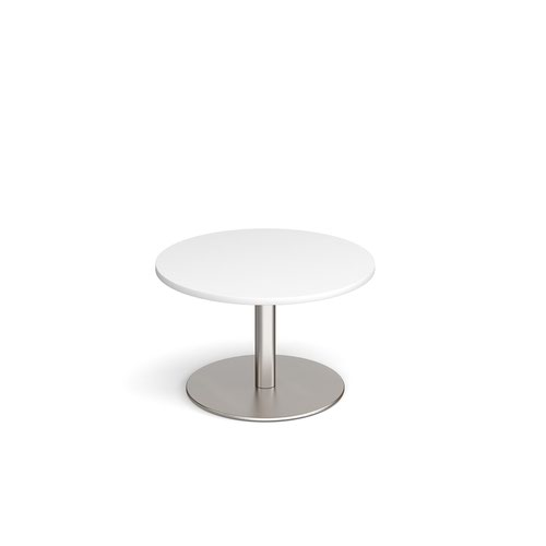 Monza circular coffee table with flat round brushed steel base 800mm - white