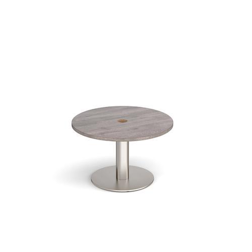 Monza circular coffee table 800mm with central circular cutout 80mm - grey oak
