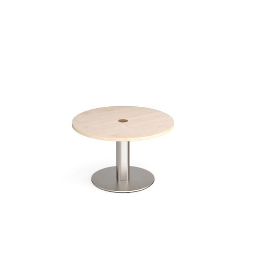 Monza circular coffee table 800mm with central circular cutout 80mm - maple