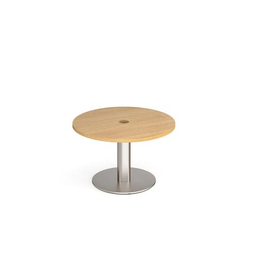 Monza circular coffee table 800mm with central circular cutout 80mm - oak