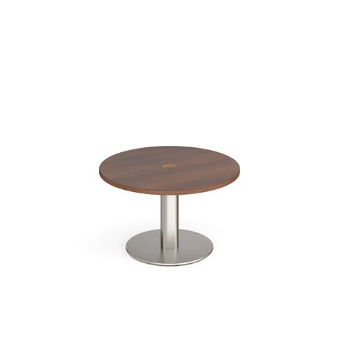 Monza circular coffee table 800mm with central circular cutout 80mm - walnut