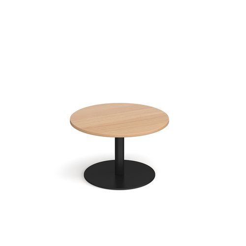 Monza circular coffee table with flat round black base 800mm - beech
