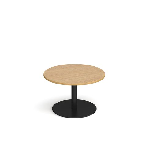Monza circular coffee table with flat round black base 800mm - oak