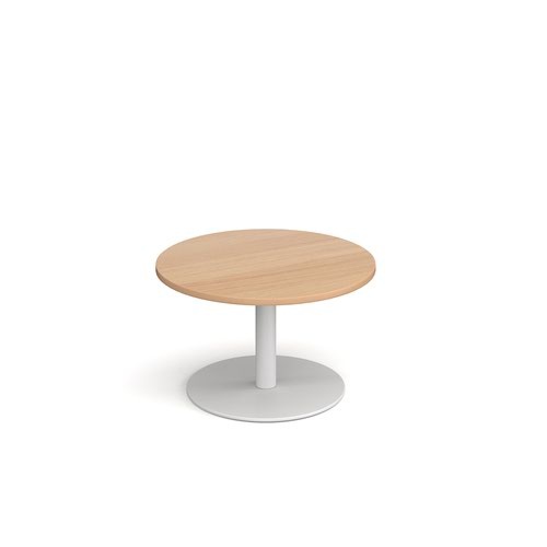Monza circular coffee table with flat round white base 800mm - beech