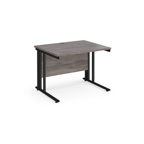 Maestro 25 straight desk 1000mm x 800mm - black cable managed leg frame and grey oak top