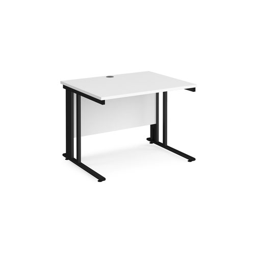 Maestro 25 straight desk 1000mm x 800mm - black cable managed leg frame and white top