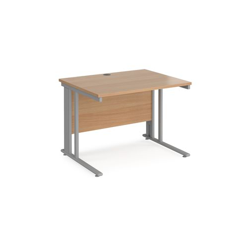 Maestro 25 straight desk 1000mm x 800mm - silver cable managed leg frame and beech top