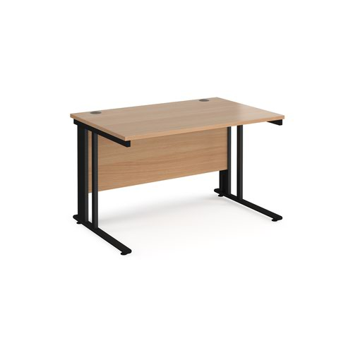 Maestro 25 straight desk 1200mm x 800mm - black cable managed leg frame and beech top
