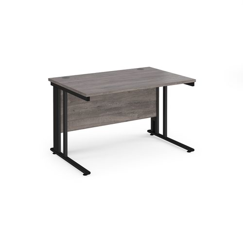 Maestro 25 straight desk 1200mm x 800mm - black cable managed leg frame and grey oak top