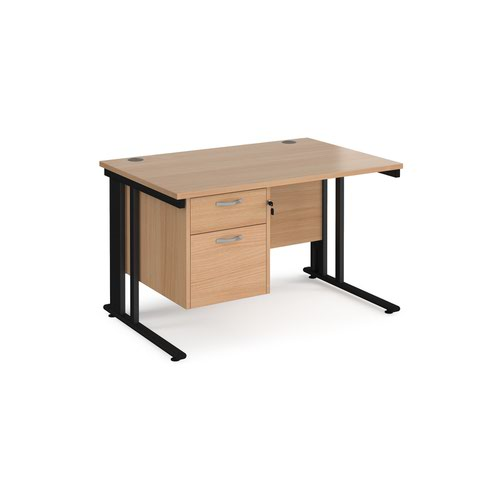 Maestro 25 straight desk 1200mm x 800mm with 2 drawer pedestal - black cable managed leg frame and beech top