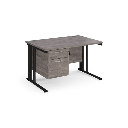 Maestro 25 straight desk 1200mm x 800mm with 2 drawer pedestal - black cable managed leg frame and grey oak top