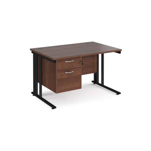 Maestro 25 straight desk 1200mm x 800mm with 2 drawer pedestal - black cable managed leg frame and walnut top