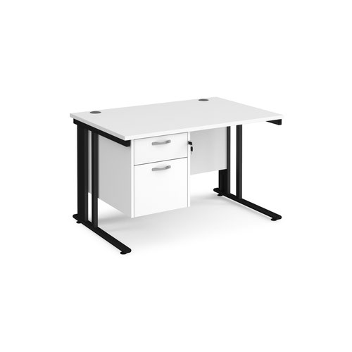 Maestro 25 straight desk 1200mm x 800mm with 2 drawer pedestal - black cable managed leg frame and white top