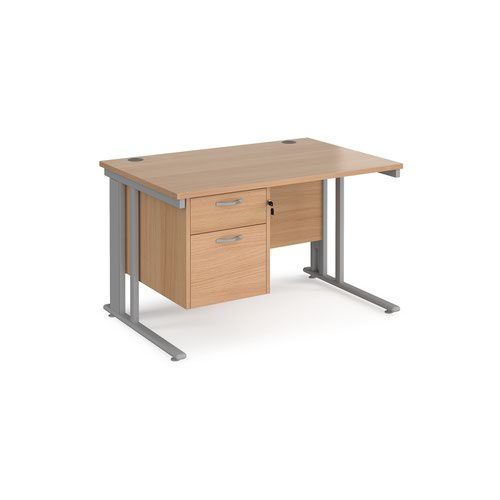Maestro 25 straight desk 1200mm x 800mm with 2 drawer pedestal - silver cable managed leg frame and beech top