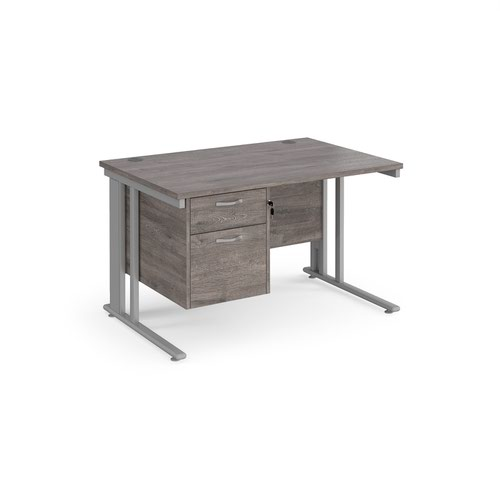 Maestro 25 straight desk 1200mm x 800mm with 2 drawer pedestal - silver cable managed leg frame and grey oak top