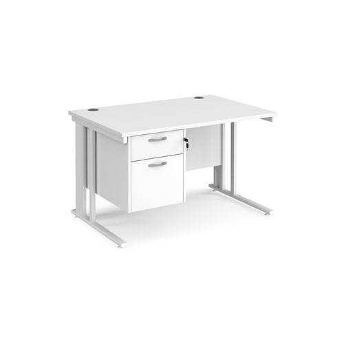 Maestro 25 straight desk 1200mm x 800mm with 2 drawer pedestal - white cable managed leg frame and white top