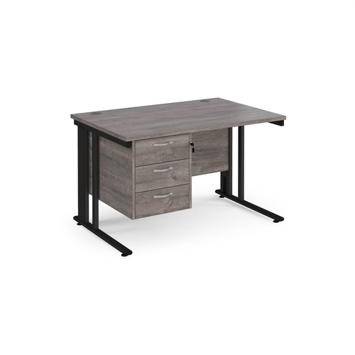 Maestro 25 straight desk 1200mm x 800mm with 3 drawer pedestal - black cable managed leg frame and grey oak top