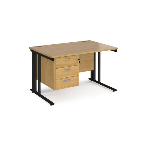 Maestro 25 straight desk 1200mm x 800mm with 3 drawer pedestal - black cable managed leg frame and oak top