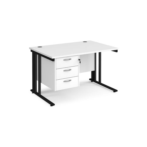 Maestro 25 straight desk 1200mm x 800mm with 3 drawer pedestal - black cable managed leg frame and white top