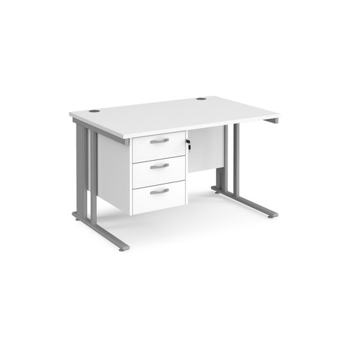Maestro 25 straight desk 1200mm x 800mm with 3 drawer pedestal - silver cable managed leg frame and white top