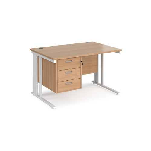 Maestro 25 straight desk 1200mm x 800mm with 3 drawer pedestal - white cable managed leg frame and beech top