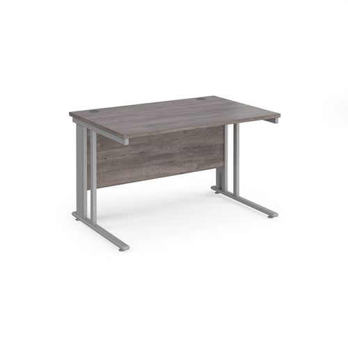 Maestro 25 straight desk 1200mm x 800mm - silver cable managed leg frame and grey oak top