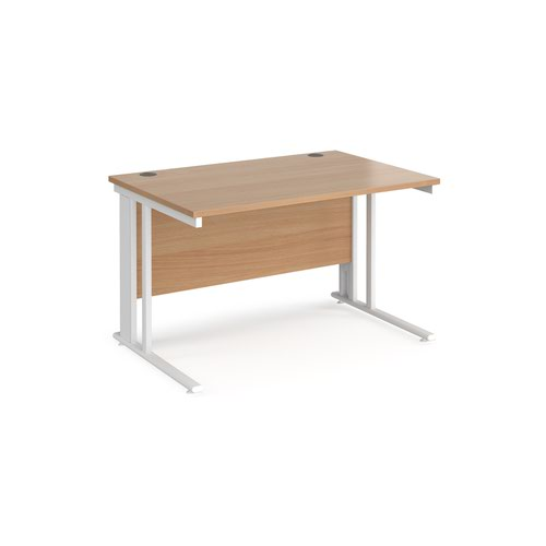 Maestro 25 straight desk 1200mm x 800mm - white cable managed leg frame and beech top