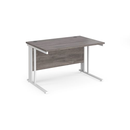 Maestro 25 straight desk 1200mm x 800mm - white cable managed leg frame and grey oak top