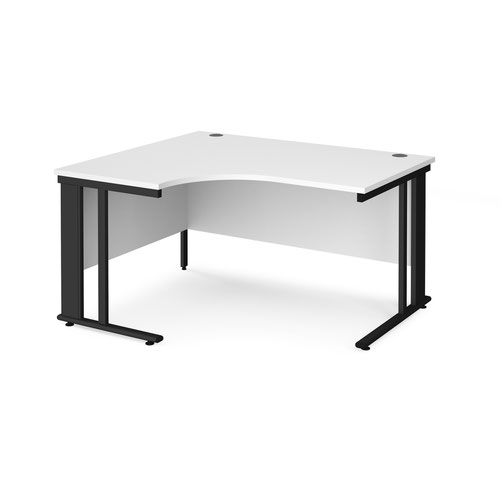 Maestro 25 left hand ergonomic desk 1400mm wide - black cable managed leg frame and white top