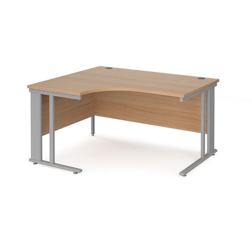 Maestro 25 left hand ergonomic desk 1400mm wide - silver cable managed leg frame and beech top