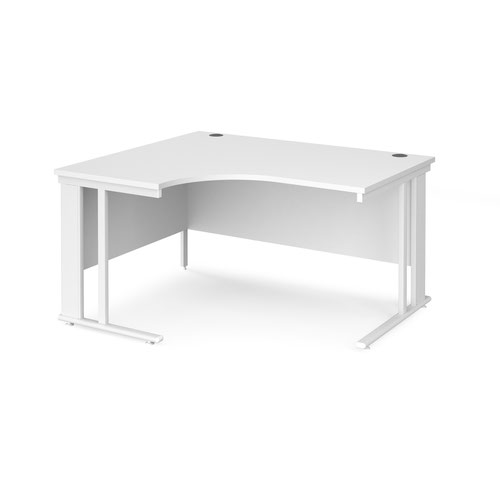 Maestro 25 left hand ergonomic desk 1400mm wide - white cable managed leg frame and white top