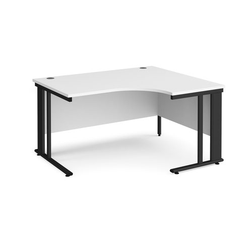 Maestro 25 right hand ergonomic desk 1400mm wide - black cable managed leg frame and white top