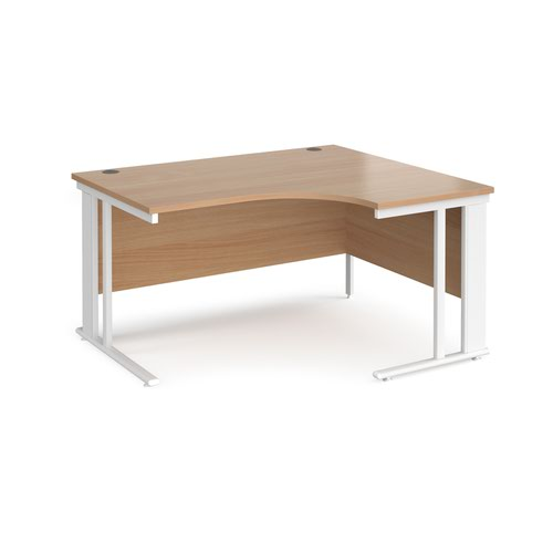 Maestro 25 right hand ergonomic desk 1400mm wide - white cable managed leg frame and beech top