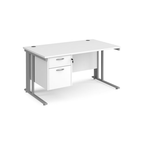 Maestro 25 straight desk 1400mm x 800mm with 2 drawer pedestal - silver cable managed leg frame and white top