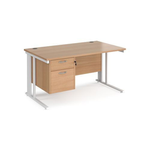 Maestro 25 straight desk 1400mm x 800mm with 2 drawer pedestal - white cable managed leg frame and beech top